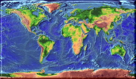Topographic world map, click to see larger image.